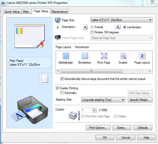 Snip - Print - Properties - Page layout