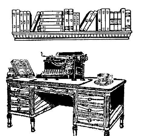 Typewriter and desk